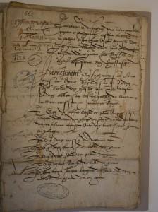 Inventaire du trésor de la Platière, 1562. ADR, 2H35